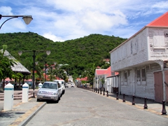 Sleepy St Barts is easy to navigate. This is a view down one of Gustavia's main roads