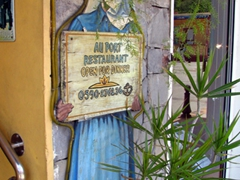 Restaurant signpost in Gustavia