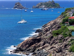 Jagged coastline of St Barts