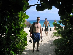 Robby and Luke are dripping wet leaving Gouverneur Beach but anticipate drip drying on the ATV ride back to Gustavia