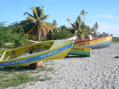 "Colorful Nevian boats line the beach, although the name of the closest boat, ""Trust no friend"" is a bit disturbing"