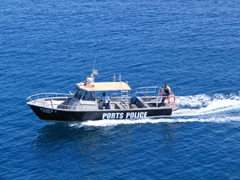 The Ports Police had to board our Easy Cruise to verify the passenger list before allowing us to disembark