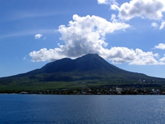 View of Nevis' peak from the distance