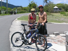 Shannon & Luke take a short breather from riding all day