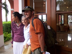 Becky, Laverne and Robby escape the massive downpour; Taino Beach Resort