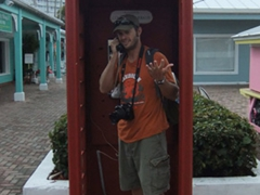 Old British style telephone booth; Port Lucaya Marketplace