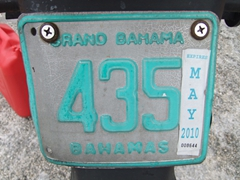 Grand Bahama scooter license plate