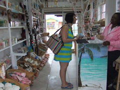 A tourist tries to bargain with a Lucayan shopkeeper (they are hard to bargain with!)