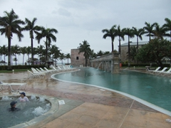 We contemplated getting into the hot tub as it was raining (and cold) out; Lucaya Beach