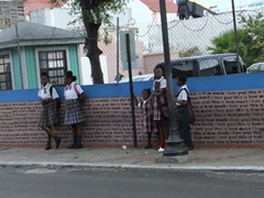 School kids waiting for the bus; Nassau