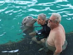 Laverne gets a dolphin kiss; Blue Lagoon Island