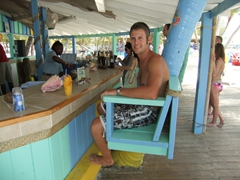 Robby enjoying his drink at the Blue Lagoon bar
