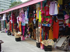There is a ton of Bahamian kitchy souvenirs for sale; Lucaya
