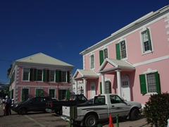 Pretty pink Parliament buildings; downtown Nassau
