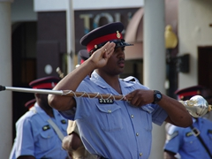 Smart salute; Dress rehearsal for the opening of Parliament in downtown Nassau