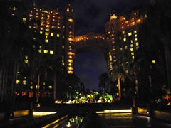Night view of the Royal Towers and Bridge Suite; Paradise Island