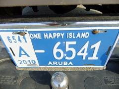 "Close up of a license plate...Aruba is ""One Happy Island"""