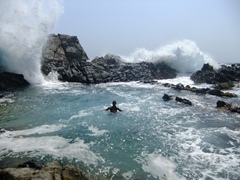 Becky has a moment of pure bliss before the waves come crashing down; natural pool