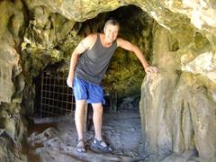 Robby at the entrance of Quadirikiri Cave; Arikok National Park