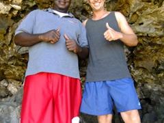 Michael and Robby posing outside Quadirikiri Cave