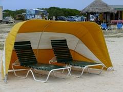 Lounge chairs beckon; Baby Beach