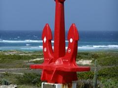Massive anchor monument; near Baby Beach