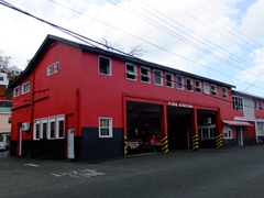 Bright red fire station; St George