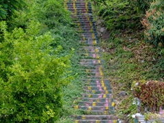 Colorful steps leading even further up St George