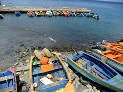 Colorful fishing boats near the fish market