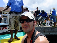 Robby on a water taxi to Grande Anse Beach