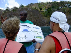 Alfred giving us a brief lecture on marine life in Grenada