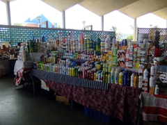 A wide variety of products for sale at the old market; Punda