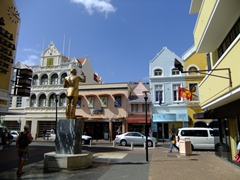 Center of Punda, the main shopping district of historic Willemstad and the seat of government of the Netherlands Antilles