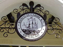 Ornate sign for a Caribbean Bank; Curaçao
