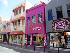 Even Punda's tattoo parlour does its best to blend in with the architectural norm