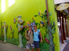 Having our picture taken by this flowery wall; Punda