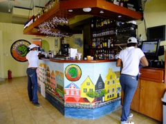 The Iguana cafe is a popular bar/restaurant in Punda