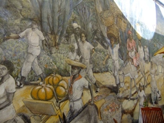 Wall mural of slaves at the Kura Hulanda Museum