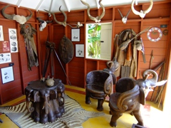 Intricately carved elephant chairs in the African room; Kurá Hulanda Museum