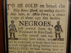 Old newspaper clipping of 250 slaves for sale; Kurá Hulanda Museum