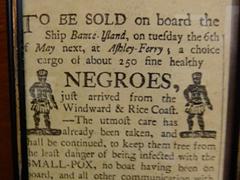 Old newspaper clipping of 250 slaves for sale; Kurá Hulanda Museum
