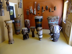 Various types of African drums; Kurá Hulanda Museum