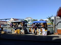 Souvenir stands near the floating market; Punda