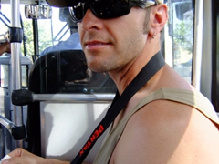 Robby on a public bus out of Bridgetown (cost is USD$1 or $1.50 Barbados)
