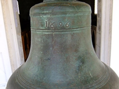 "The original bell of St James Church. It is the oldest in Barbados with an inscription ""God Bless King William 1696"""