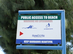 "All beaches in Barbados are open to the public, just look for these ""public access"" signs for a route to the beach"