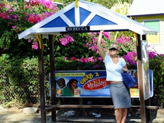 Interesting enough, all the bus stops in Barbados have feminine names. Becky found her namesake at Payne's Beach stop