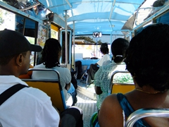 Interior of a public Barbados bus