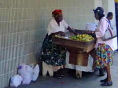 Haggling over the price of fruit; downtown Bridgetown