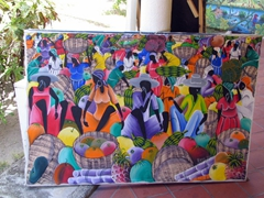 Antiguan artwork is very colorful; Jolly Beach Harbor